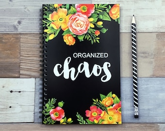 Writing journal, spiral notebook, bullet journal, cute journal, diary, sketchbook, black, floral, blank lined grid - Organized chaos