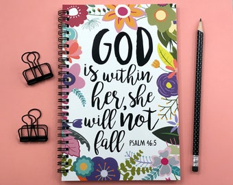 Writing journal, spiral notebook, sketchbook, floral bullet journal, sketchbook, blank lined grid - God is within her she will not fall