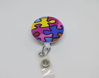 Puzzle Piece/Autism Awareness/Badge Reel/ID Badge Holder/Retractable Badge/Fabric Covered Button