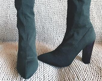 Kahki Sock Ankle Boot