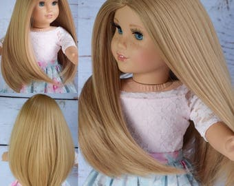 "Custom Doll wig for 18"" American Girl Doll Heat Safe Tangle Resistant - Our Generation Gotz Journey Girl My Life"