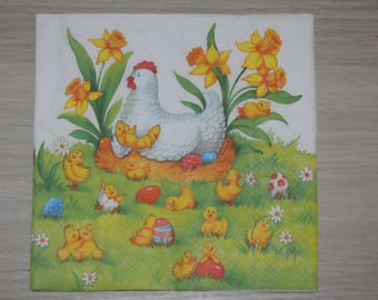 """theme """"Hen and chicks"""" Easter napkin"""