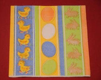 "theme ""Rabbits ducklings eggs"" Easter napkin"