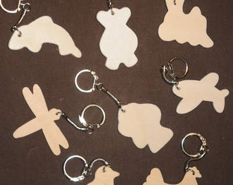 set of 8 blank wooden key ring