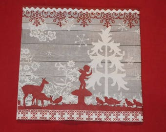 """Christmas theme napkin""Fairy Tale"""""