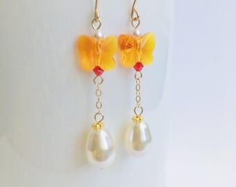 Swarovski Butterfly Earrings,Swarovski Pearl Earrings,Swarovski Crystal Earrings,Swarovski Tangerine Earrings