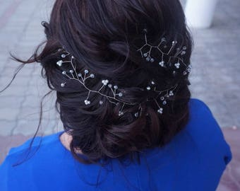 Bridal Hair Vine Bridal Headpiece Wedding Hair Vine Hair Jewelry Pearl Crystal Headpiece WeddingTiara Headband Long Hair Vine Rustic Wedding