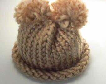 Brown Pom-pom Baby Hat