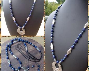 Macrame necklace ethnic lapis lazuli