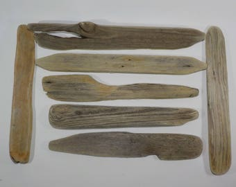 7 Flat Thin Driftwood 11.4-14.6''/29-37 cm  Narrow Driftwood Name Tags - Driftwood Signs - Driftwood  Craft Supply #53B