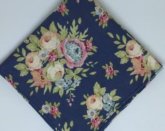Mens Blue Floral pocket square wedding gift for men groomsmen