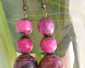 """Crazy AGATE musky"" - earrings - gemstone beads"