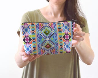 "Aztec Tribal Bohemian Print Zippered Cosmetic Bag, Make-up Bag, Toiletry Bag, Pouch - 8"" x 5.5"""