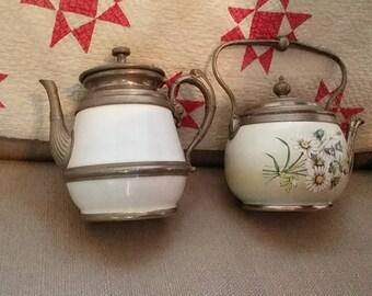 Graniteware teapots, pewter trim