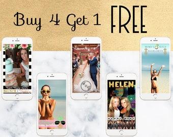 Buy 4 Get 1 FREE Custom Snapchat Geofilter Package || birthday, sorority, formal, bridal shower, bachelorette, wedding - 5 custom filters