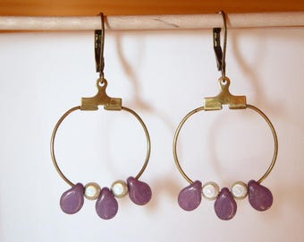 purple amethyst beads and hoop earrings