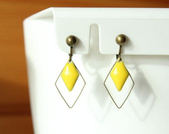 Bronze yellow sequins and diamond clip earrings