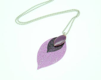 Leaf filigree pendant necklace purple violet and black and sequin purple enamel
