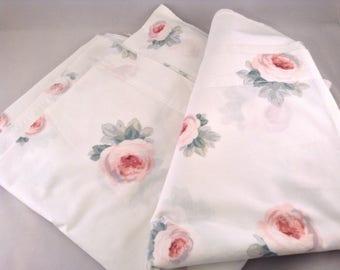 Vintage King Flat Sheet -Cottage Pink Roses