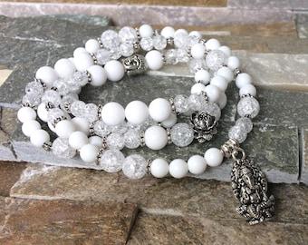 Mala 108 beads chain Ganesha rock crystal jade mala necklace