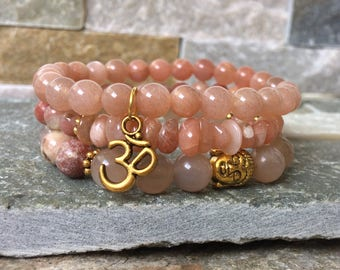 Buddha OM bracelet set Sonnenstein Lepidolite mala bracelet