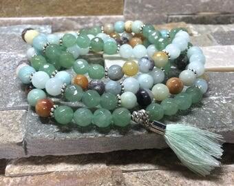 Mala Necklace 108 Pearl tassel Lotus Jade Aventurine amazonite prayer Chain