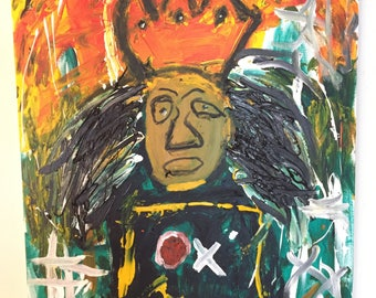 RESERVED- Basquiat Abstract -  Portrait by Matty Cardarople.