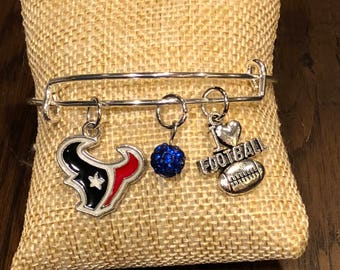 Houston TexansThemed Bangle Bracelet with Houston Texans, Blue Pave Bead Disco Ball and I Love Football Charms