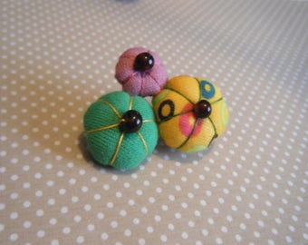 Yellow, pink and green Japanese flower brooch
