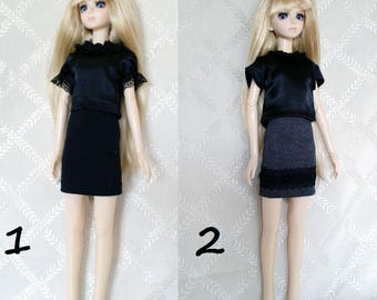 BJD, MSD, Doll outfit, Doll clothes, Doll dress. bjd top, MSD Tops. black top.
