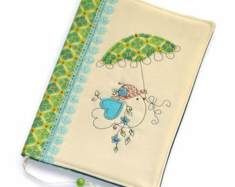 Birdie Fabric Book Cover, Reusable Book Case, Travel Journal, Handmade Notebook, Colorful Embroidery, Gift for Her, Diary Cover, Green, Blue