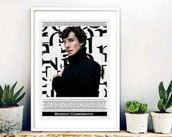 Benedict Cumberbatch - Collage, quote, actor, Sherlock, interior design, illustration, vintage, print, home decor, poster, elegant-