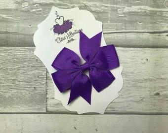 Hair Bow, Hair Clips, Bow Hair Clips, polka dot Denim hair clip, Fabric bow, Purple