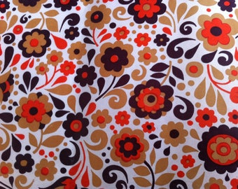 Vintage 1960's Lining Paper, wrapping paper, flower power print, 50cm x 88cm.