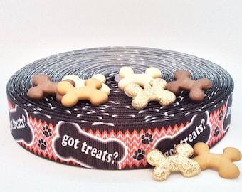 "Got Treats ? Dog Treat Ribbon - 7/8"" Grosgrain Ribbon"