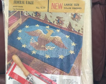Reduced Price! Federal Eagle 34x 48 inch punch needle rug foundation with No. 6 punch needle