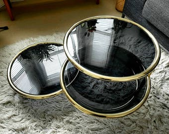 Retro 60's brass & glass 3 tier swivel coffee table - PICK UP ONLY