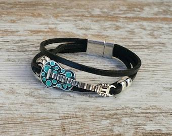 Leather guitar bracelet, turquoise guitar bracelet, leather guitar bracelet