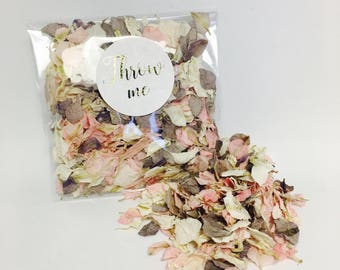 Flower petal confetti - pale pink & grey with off white petals - biodegradable - metallic gold calligraphy throw me label - vintage weddings
