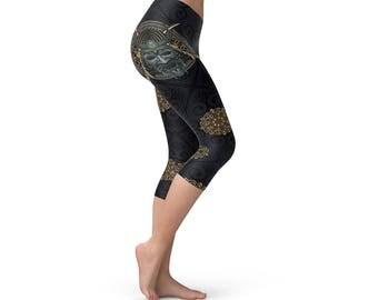 Black Japanese Samurai Capri Women Leggings, Yoga Leggings, Athletic Capris, Sweatpants, Capri Leggings for Running, Aerobics and Pilates