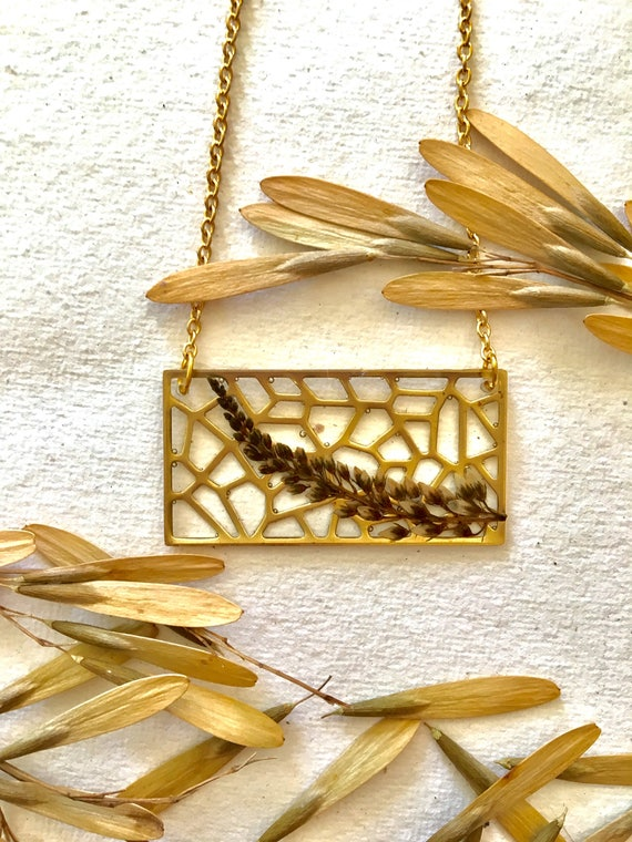 Brass filigree rectangle with clethra summersweet necklace