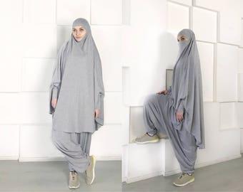 Franch khimar suit, Muslim sport suit, Harem pants, Islamic dress, Long hijab, Stylish Sport Hijab, Gray Niqab, Boho Pants, Afghani pants