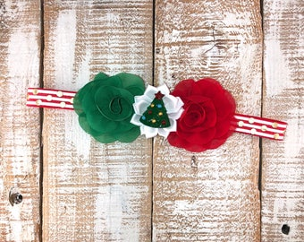 Christmas Headband, Holiday Headband, Red & Green Headband, Newborn Headband, Toddler Headband, Girls Headband, Photo Prop