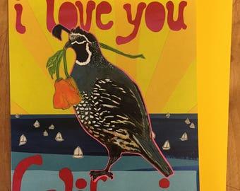 Love You California Blank Greeting Card