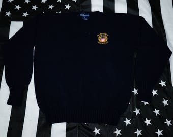 Vintage 90s Ralph Lauren Navy Reserve Sweater Size M Spellout Knit RL
