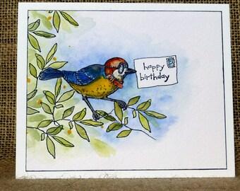 handmade bird birthday card,