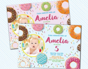 Digital Printable Donut Birthday Invitation. Girl Birthday Party. sprinkle birthday invite