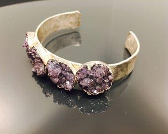 Purple Amethyst Stalactite Flower Bracelet 5 Micron Hammered Silver Statement Cuff Unique Gemstone Healing Crystal Chic Birthday Gift Pride