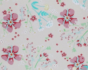 New Floral Jersey Fabric 95/5 Cotton/Elastane in Beige/Cream - 2 continuous metres