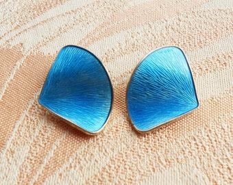 Vintage Norway Blue Enamel Silver Earrings, Mid Century Clip-on Silver Gilt Earrings
